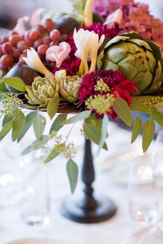 artichokes in bouquets // flower arranging
