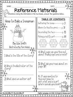 Reference Materials Worksheet Freebie