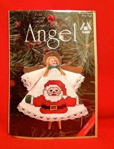 Christmas Ornament Counted Cross Stitch Kit - Santa Claus ANGEL Clothespin - Stocking Stuffer