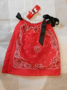 $25.00  Bandana Dress with matching hair bow. Available on Etsy