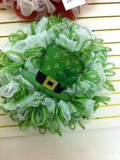 St Patrick Wreath $59.99 patrick wreath, mesh wreath, st patricks wreath, stpatrick, pipe cleaner
