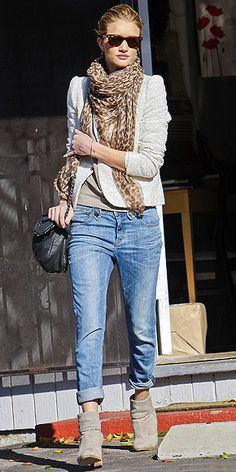 Rosie Huntington-Whiteley. I'm going to have to try the boyfriend jeans with booties style.