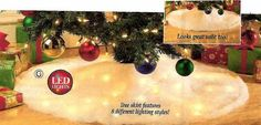 40″ LED LIGHTED SNOW TREE SKIRT WITH 8 DIFFERENT LIGHTING STYLES!