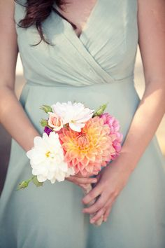 dahlias provide the perfect pop of color Photography by gillettphoto.com, Coordination by wedding-architects.com