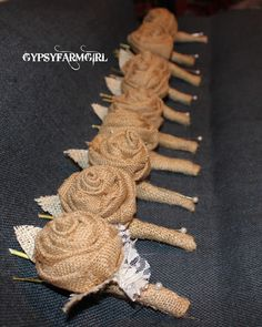 rustic  burlap and lace boutonnieres