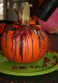 Crayon Melt Pumpkin - a fun halloween activity for kids
