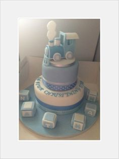 Christening Day Cake Train and alphabet blocks- blue and white