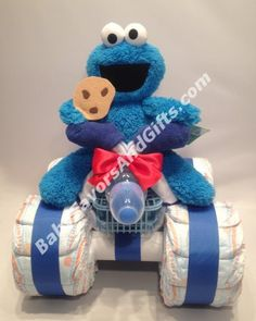 Cookie Monster 4-Wheeler Diaper Cake #babyshowergifts