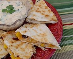Chicken and Black Bean Quesadillas with Chipotle Dip