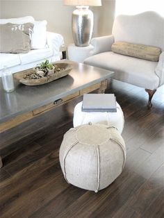 Want these Ottoman poufs to go with one of my living room chairs...    Burlap Pouf/Ottoman by lovintagefinds on Etsy, $89.00
