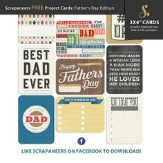 Free Fathers Day Edition Project Life Cards from Scrapeneers {on Facebook}