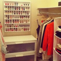 Storing nail polish in your closet?! Best idea ever! It's on display and it's still protected from sunlight.