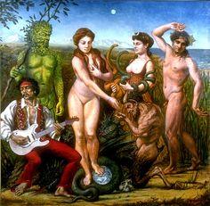 god, art, scene, green man, paintings