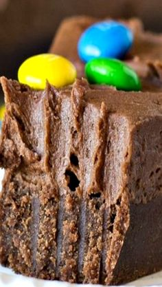 Chocolate Shortbread Bars with Chocolate Buttercream Frosting Recipe ~ This thick, fudgy Chocolate Shortbread with Chocolate Buttercream Frosting is topped with M&M candy and is every chocolate lover's dream!