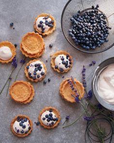 Mini Blueberry-Lavender Cornmeal Cream Tarts