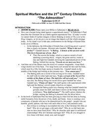 "Spiritual Warfare and the 21 Century Christian ""The Admonition"""