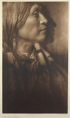 """Vash Gon - Jicarilla. Photo by Edward Curtis around 1907-1930. His work did do its part to perpetuate the """"noble savage"""" stereotype, but they're still beautiful photographs that recognize the humanity of the subjects."""