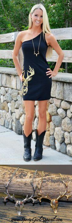 Black Deer Skull Dress and Deer Necklace