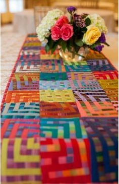 Crazy Squares table runner by Kaffe Fassett.  Shot cottons.  Kit at Hyggeligt Fabrics (Canada)