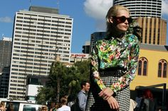 tropical print blouse and checked skirt! very stylish