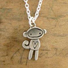 Handmade Gifts | Independent Design | Vintage Goods Sock Monkey Necklace