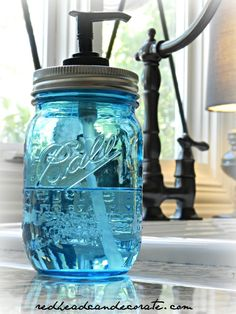 Turn a jar into a hand soap dispenser in 10 minutes.  I gave one each to my Mom, sister, and sister in laws!  Redhead Can Decorate .com
