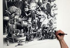 A Triptych - The Landing- 2012 - Panel 1 by Joe Fenton