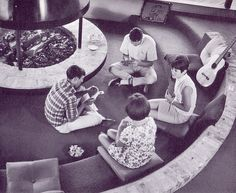 Teen conversation pit, above; below, the early 70s living/dining room of sculptor Sydney Butche – it appeared in House Beautiful in 1972. Fire Pits, Interior, Decks, Modern Architecture, Carpets, 1970S, Hous, Convers Pit, Design Studios