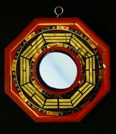 What is a Feng Shui Bagua Mirror?  ~ A feng shui bagua mirror is a powerful cure to protect against negative energy and create good fortune and harmony. It should ONLY be used on the home's exterior.