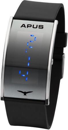 APUS Gamma Silver-Blue LED Watch Very Light, (led watch, iron samurai - japanese inspired red led watch, super watch)