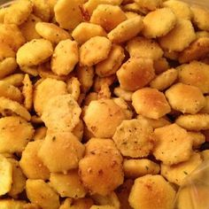 Modified A Pinterest Recipe With What I Had And It Turned Out Really Good: 1 Pkg Of Dry Ranch Dressing, 1tsp Of Garlic Powder, Salt And Pepper To Taste, 1/4 Cup Of Olive Oil, 1 Bag Of Oyster Crackers, Parmesan Cheese. Mix Ranch Garlic Powder, Olive Oil And Salt And Pepper In Mixing Bowl Then Mix In Crackers And Sprinkle With Parmesan Cheese. Spread Crackers On Cookie Sheet And Bake In 250deg Preheated Oven For 15 Mins Stirring Every 5 Mins.... Delicious!!