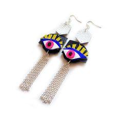 boo + boo factory Evil Eye Earrings, Geometric Egyptian Earrings, Third Eye Jewelry, Silver Tassel Statement Earrings