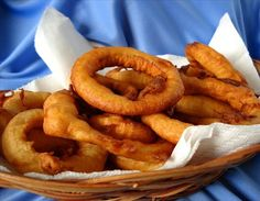 Batter Fried Onion Rings from Food.com: These are great homemade onion rings that are batter fried rather than having a bread crumb coating. They are addictive...be careful :)