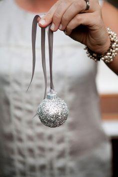 Silver Glitter Ornaments