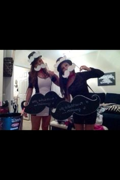 "Our halloween costume! We were mustaches. We wrote ""I mustache you a question"" on the boards! Halloween 2012"