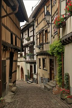 The famous alley of Eguisheim, Alsace, France