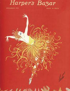 1920: A dancer's dress explodes into a starburst of color.    #vintage #harpersbazaar #vintagecover  #fashion #magazine #illustration