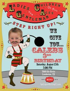 Totally love this invite! Circus strongman!