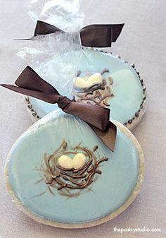 cake, cooki idea, birds nest cookies, aqua blue, food