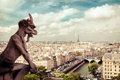 Notre Dame - Paris - France - View of the Eiffel Tower and the rooftops of Paris