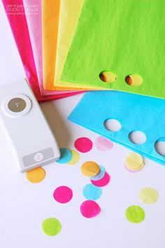 Make your own coordinating tissue paper confetti to fill balloons or the envelopes of Thank You Cards or Invitations. #rainbow #rainbowconfetti #tissueconfetti #balloonconfetti #rainbowunicorn #confetti