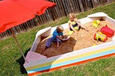 backyard sandbox, tutorials, idea, umbrellas, outdoor, kids, diy sandbox, diy projects, backyards
