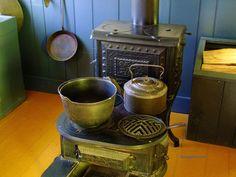 Pioneer wood tools | pots on antique wood stove