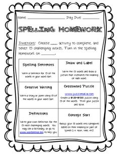 Words Their Way Spelling Homework