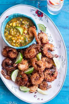 coconut-lime fried shrimp, coconut shrimp, jalapeño sauc, peach sauce, coconutlim fri, coconut lime