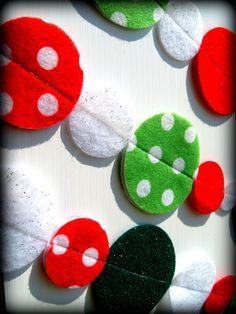 Christmas polka dot felt garland