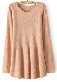 nude-buttons-pleated-round-neck-wrap-thin-dress.jpg 560×800 pixels