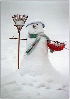 Snowman working hard