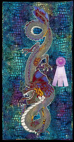 2013 Quilt Expo Quilt Contest, Honorable Mention, Category 9, Wall Quilts, Machine Quilted Pictorial: Chinese Dragon, Eric Drexler, Port Charlotte, Fla.