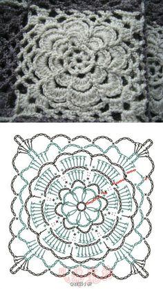 QUADRADO DE CROCHE FLOR BAIXA/crochet granny square flower motiv